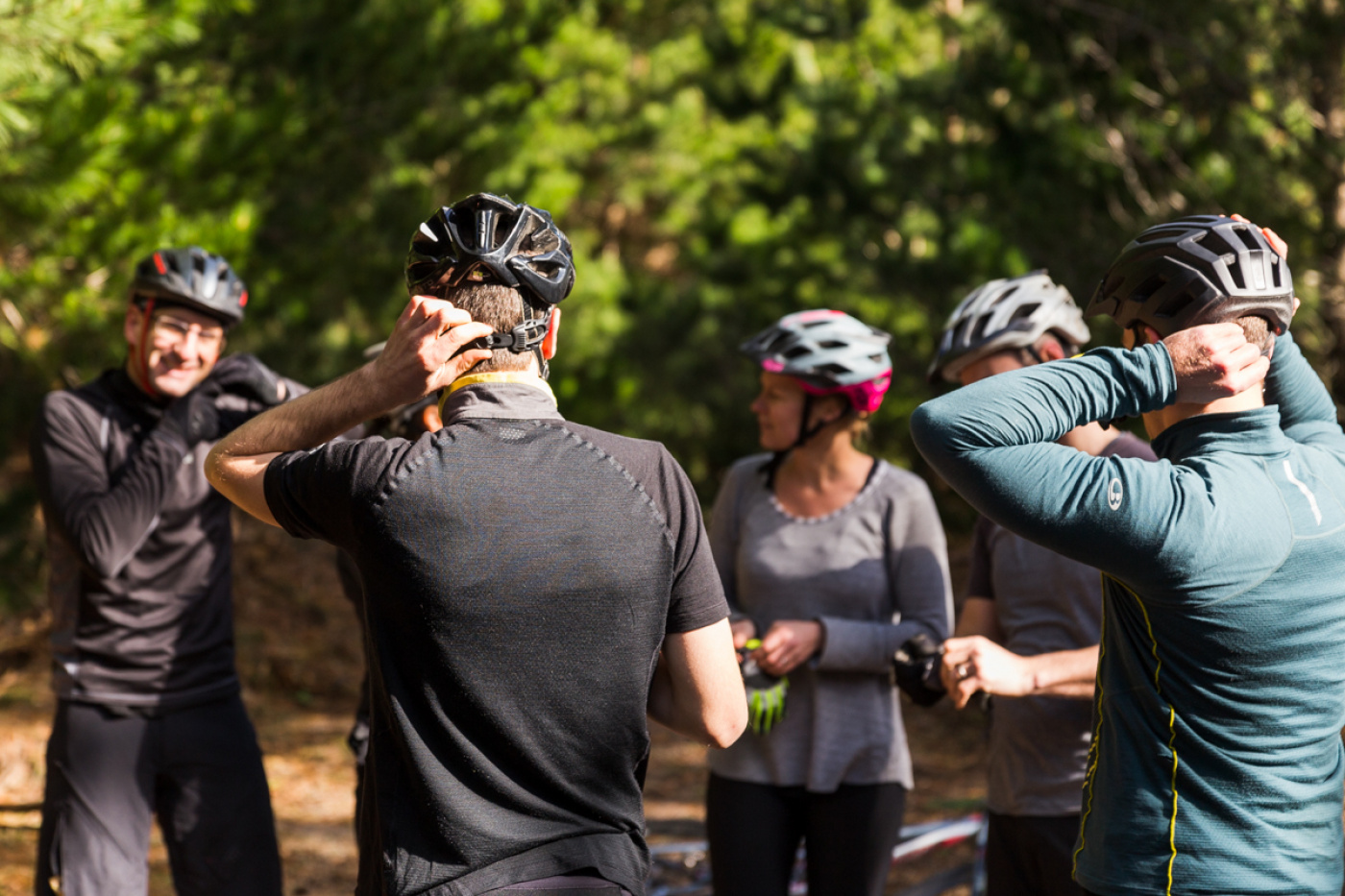 Our Experience Leaders taking guests through a mountain bike training session.